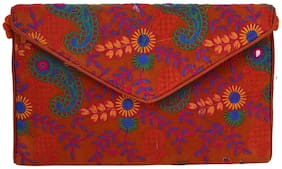 Craft Trade Cotton Embroidered Work Button Multicolor Clutch Bag (31 X 3 X 20)