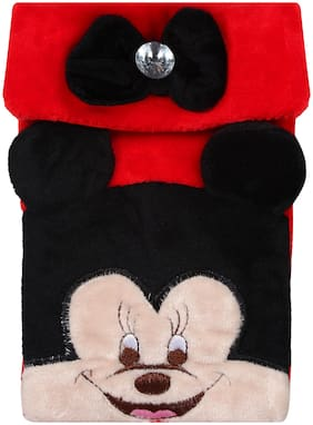 CREATURE Hello Micky Mouse Soft Velvet Black Color Sling Bag | Cartoon Character Black Color Sling Pouch | Black Color Universal Pouch