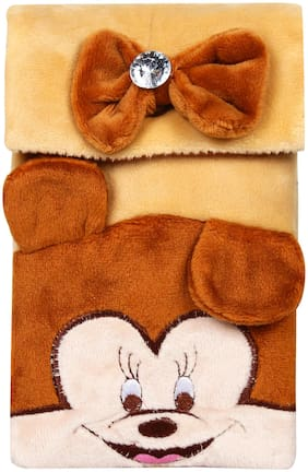 CREATURE Hello Micky Mouse Soft Velvet Brown Color Sling Bag | Cartoon Character Brown Color Sling Pouch | Brown Color Universal Pouch