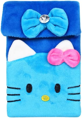 CREATURE Hello Kitty Soft Velvet Blue Color Sling Bag | Cartoon Character Blue Color Sling Pouch | Blue Color Universal Pouch