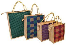 CSM Jute Bag/ Shopping Bag/Lunch Bag/Grocery Bag/Printed Multipurpose Jute Bag - Set of 4 (Color may vary)
