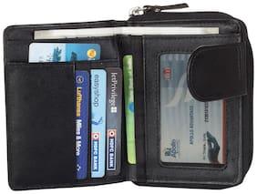 Hide & Sleek Women Black Leather Wallet