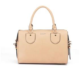 Diana Korr Beige Faux Leather Handheld Bag
