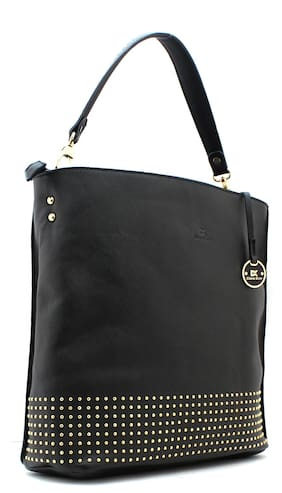 Diana Korr Black Faux Leather Handheld Bag