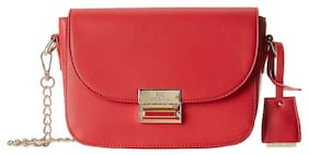 Diana Korr Red PU Solid Sling Bag