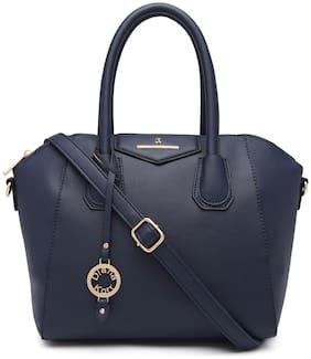 Diana Korr Blue Faux Leather Handheld Bag