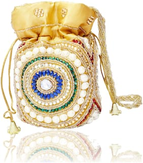 DN Silk Women Potli Bag - Gold