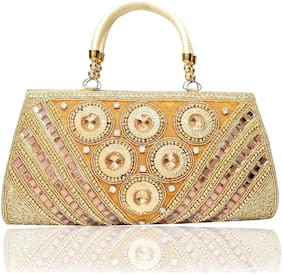 DN Women Solid Fabric - Clutch Gold
