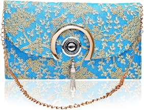 DN Women Printed Fabric - Sling Bag Blue