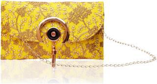 DN Yellow Fabric Printed Sling Bag