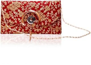 DN Women Printed Fabric - Sling Bag Maroon