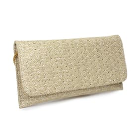 Do Bhai Women Solid Faux leather - Clutch Beige