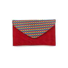 Do Bhai Women Faux Leather Clutch - Red