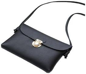 DOLLY Jewels Black PU Solid Sling Bag