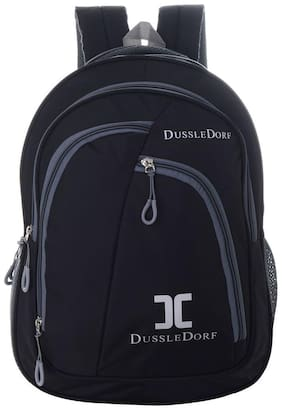 DUSSLE DORF Black Waterproof Polyester Backpack