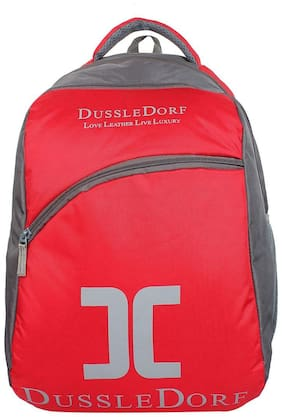 DUSSLE DORF Red Waterproof Polyester Backpack