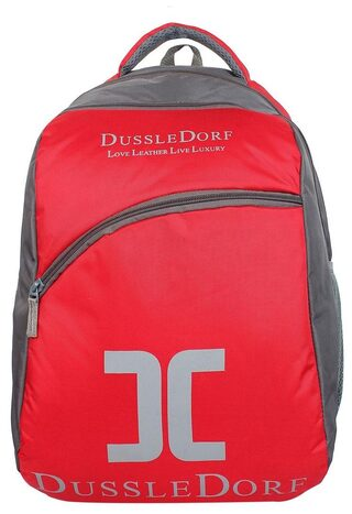 Dussledorf Polyester 20 Liters Red And Grey Laptop Backpack With Adjustable Strap (DUSS-III-0318)