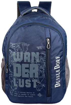 DUSSLE DORF Blue Waterproof Polyester Backpack