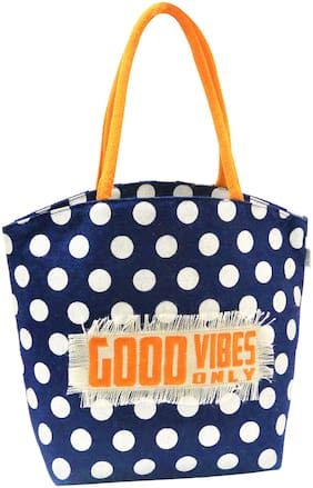 EARTHBAGS Women Polka Dots Jute - Tote Bag Blue