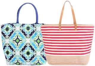 EARTHBAGS Women Printed Jute - Tote Bag Multi