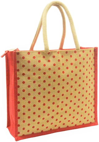 EARTHBAGS Women Polka Dots Jute - Tote Bag Beige
