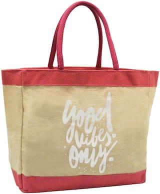 EARTHBAGS Women Typography Jute - Tote Bag Beige
