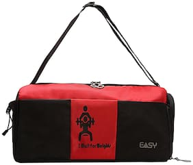 Easy Polyester Unisex Gym Bag - Red & Black