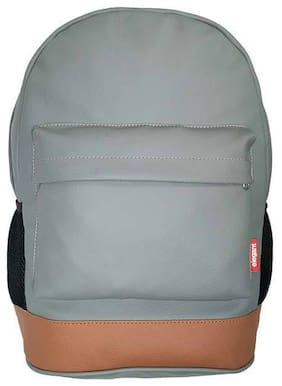 Elegant Grey & Tan Faux Leather Laptop Backpack