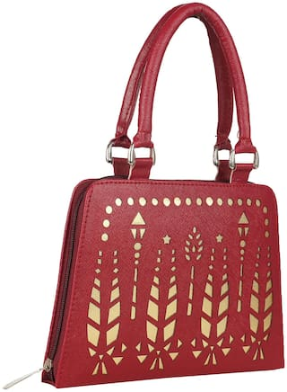 ELEMENT CART Women Solid Faux Leather - Clutch Maroon