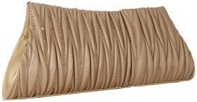 ELEMENT CART Women Solid Faux Leather - Clutch Beige