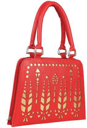 ELEMENT CART Women Solid Faux Leather - Clutch Red
