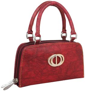 ELEMENT CART Women Faux Leather Clutch - Red