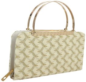 ELEMENT CART Women Solid Faux Leather - Clutch White