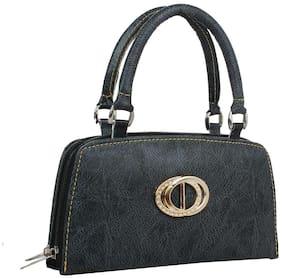 ELEMENT CART Women Solid Faux Leather - Clutch Black