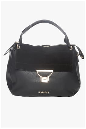 Elespry Black Faux Leather Handheld Bag