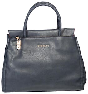Elespry Blue Faux Leather Handheld Bag