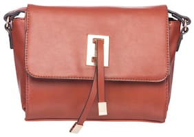 Elespry Brown Faux Leather Handheld Bag