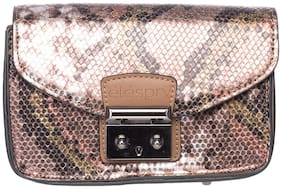 Elespry Women Solid Faux Leather - Clutch Brown