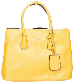Elespry Yellow Faux Leather Handheld Bag