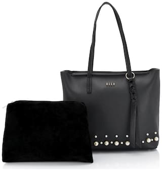 ELLE Women Solid PU - Tote Bag Black