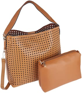 ELLE Women Solid PU - Tote Bag Brown