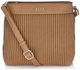 ELLE Women Solid PU - Sling Bag Brown