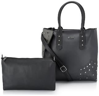 ELLE Women Solid PU - Tote Bag Grey