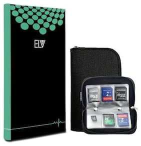 ELV Portable Memory Card Storage Wallet Premium Quality Protective 22 Slots Sd Card Carrying Case, Black