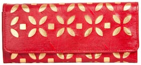 Aliado Women Solid Faux Leather - Clutch Red