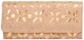 Aliado Women Solid Faux Leather - Clutch Beige