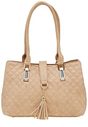 Esbeda Beige Faux Leather Handheld Bag