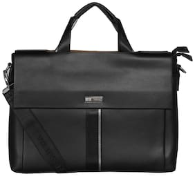 Esbeda Black PU Laptop Messenger Bag