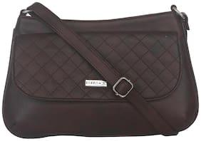 Esbeda Brown Faux Leather Solid Sling Bag
