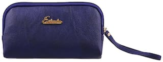 ESBEDA D-Blue Color Solid Pu Synthetic Material Pouch For Womens